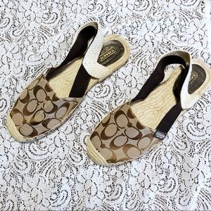 Coach Rayanne Espadrille Flats Size 10 Brown